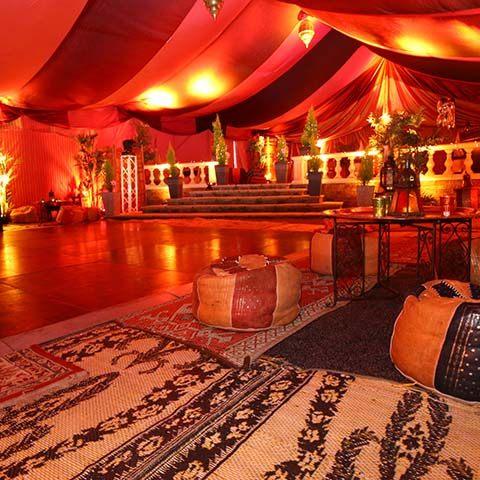 arabian themed decor inside a marquee