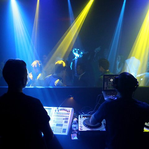 Top London DJ in bespoke DJ booth with lighting operator