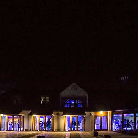 North Hants Golf club lit up at night
