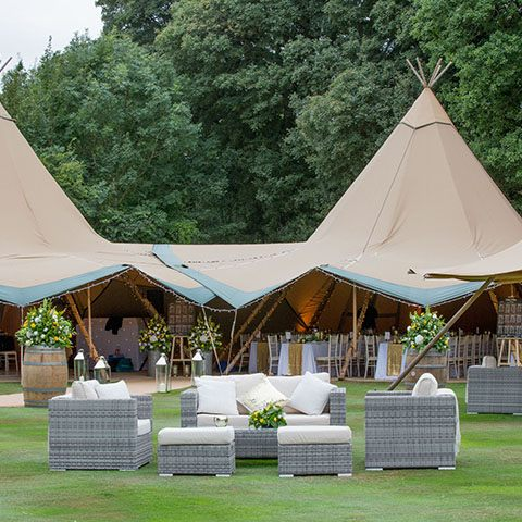 giant tipi marquee exterior for 60th wedding anniversary