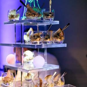 Corporate Christmas party in London futuristic afternoon tea dessert stand