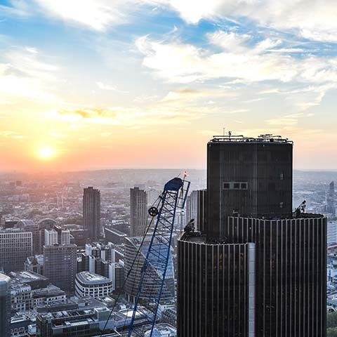 view of London skyline from a venue in the sky