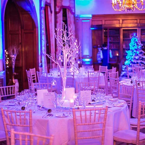 winter wonderland dinner table setup pennyhill park