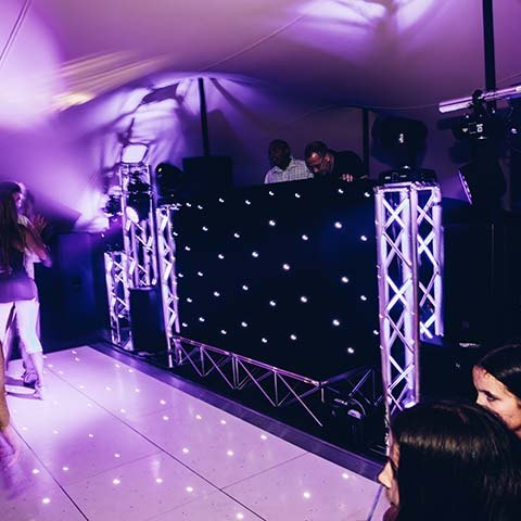 Cool dj setup inside a stretch tent marquee