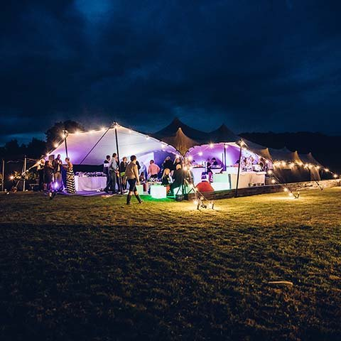 stretch tent marquee at night