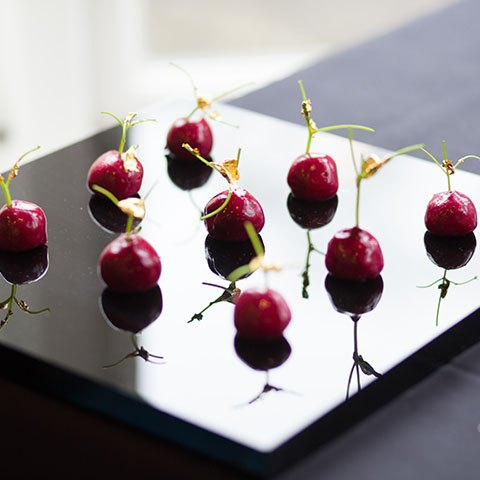 Cherry inspired canapes