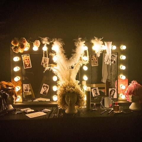 Dressing room mirror in bespoke marquee