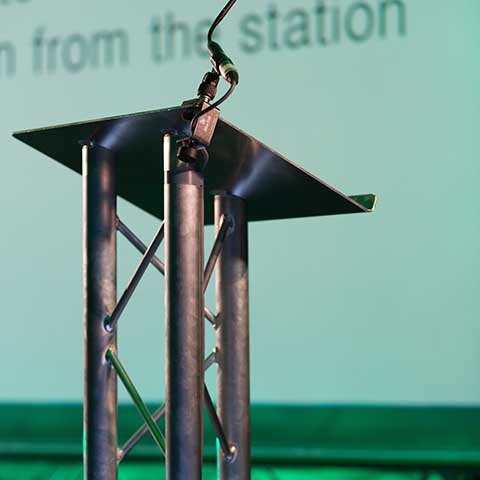 Lectern and microphone