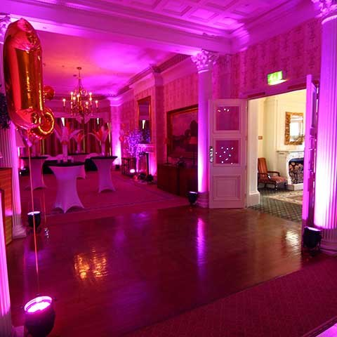 Sweet 16 pink theme golf club venue lit up pink