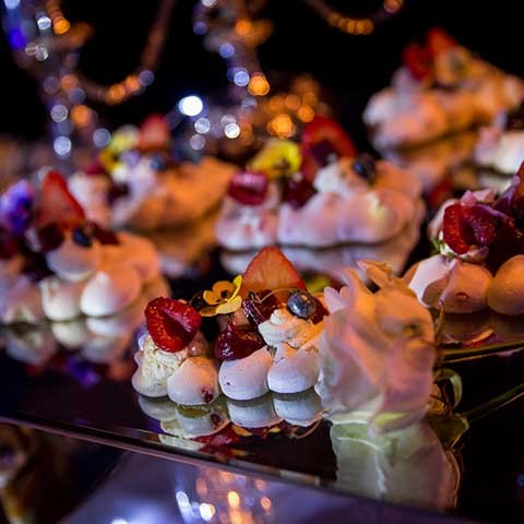 Sweet canapes at 50th birthday party in Surrey