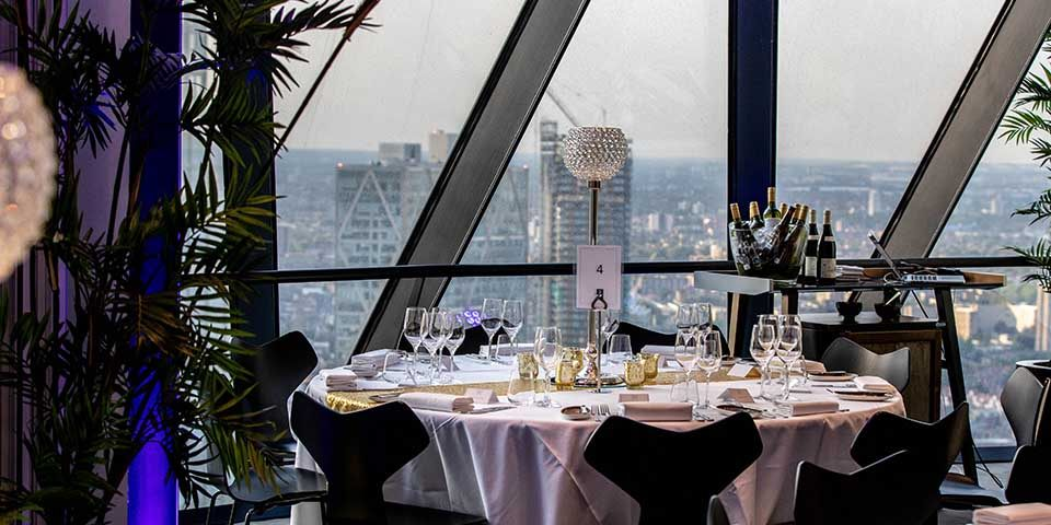 Tables layout with view at Surprise 50th Birthday Party at the Gherkin London