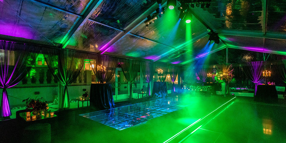 40th Birthday party marquee set up, LED lighting, clear roof