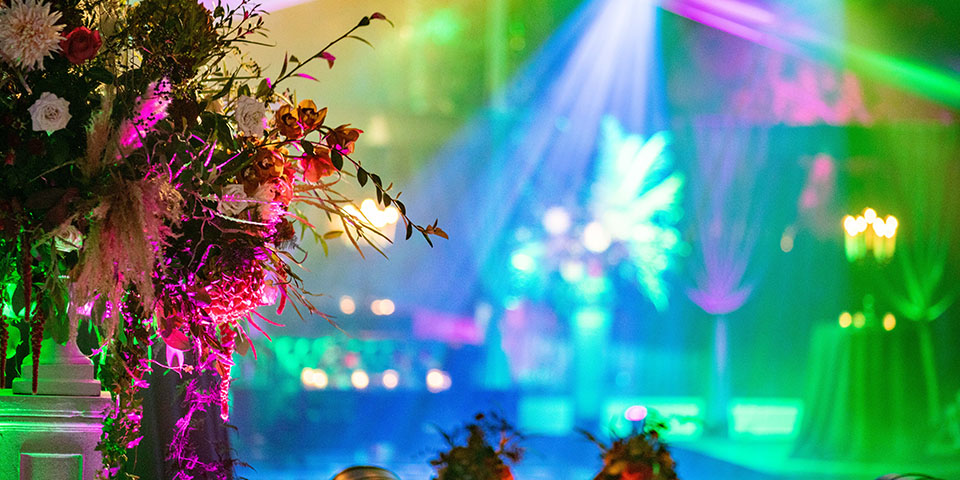 Lighting effects in a 40th Birthday party marquee